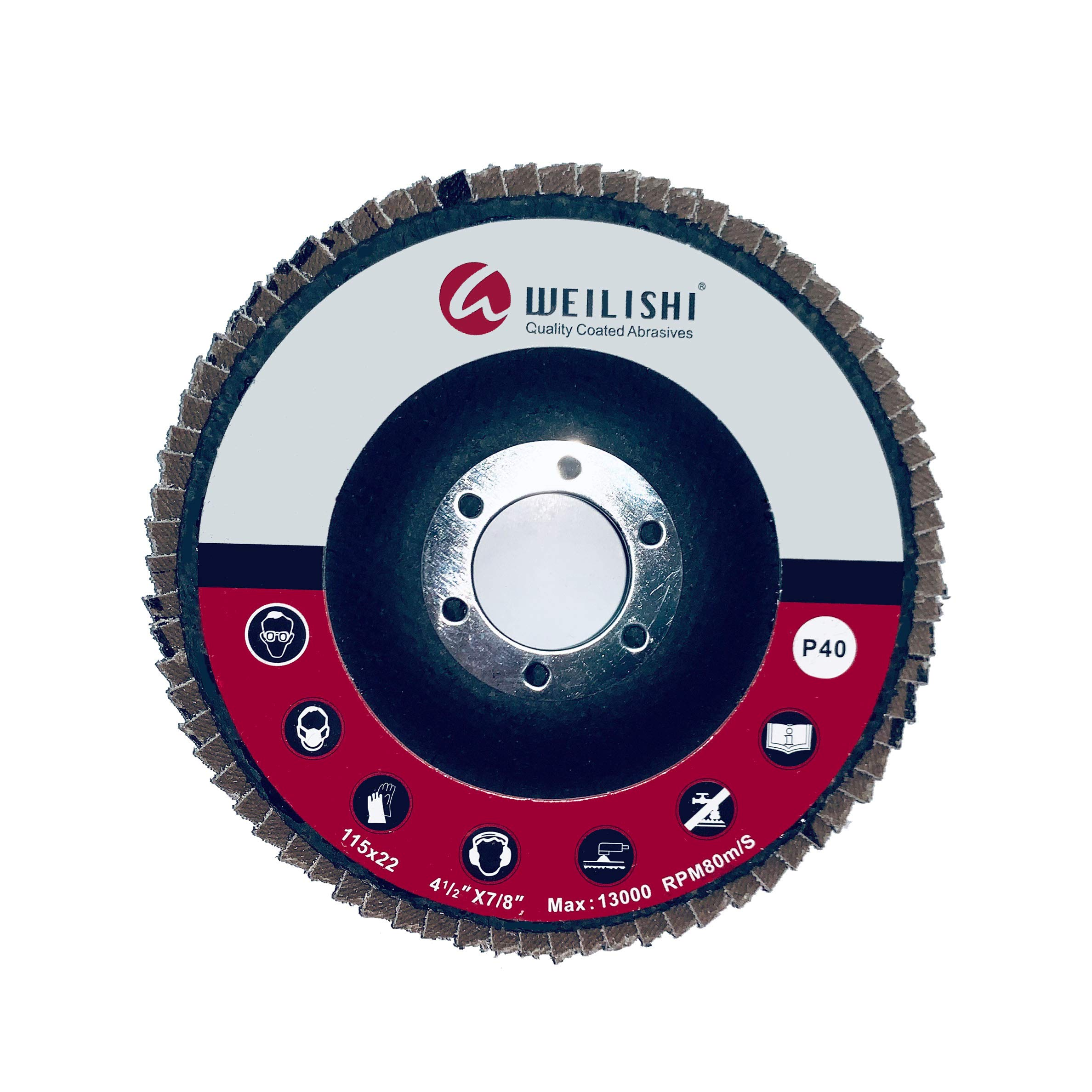 10 Pack - WEILISHI 4.5'' x 7/8'' Premium Germany VSM Zirconia Abrasive Flap Disc 4-1/2 Inch, Grit 40, T27