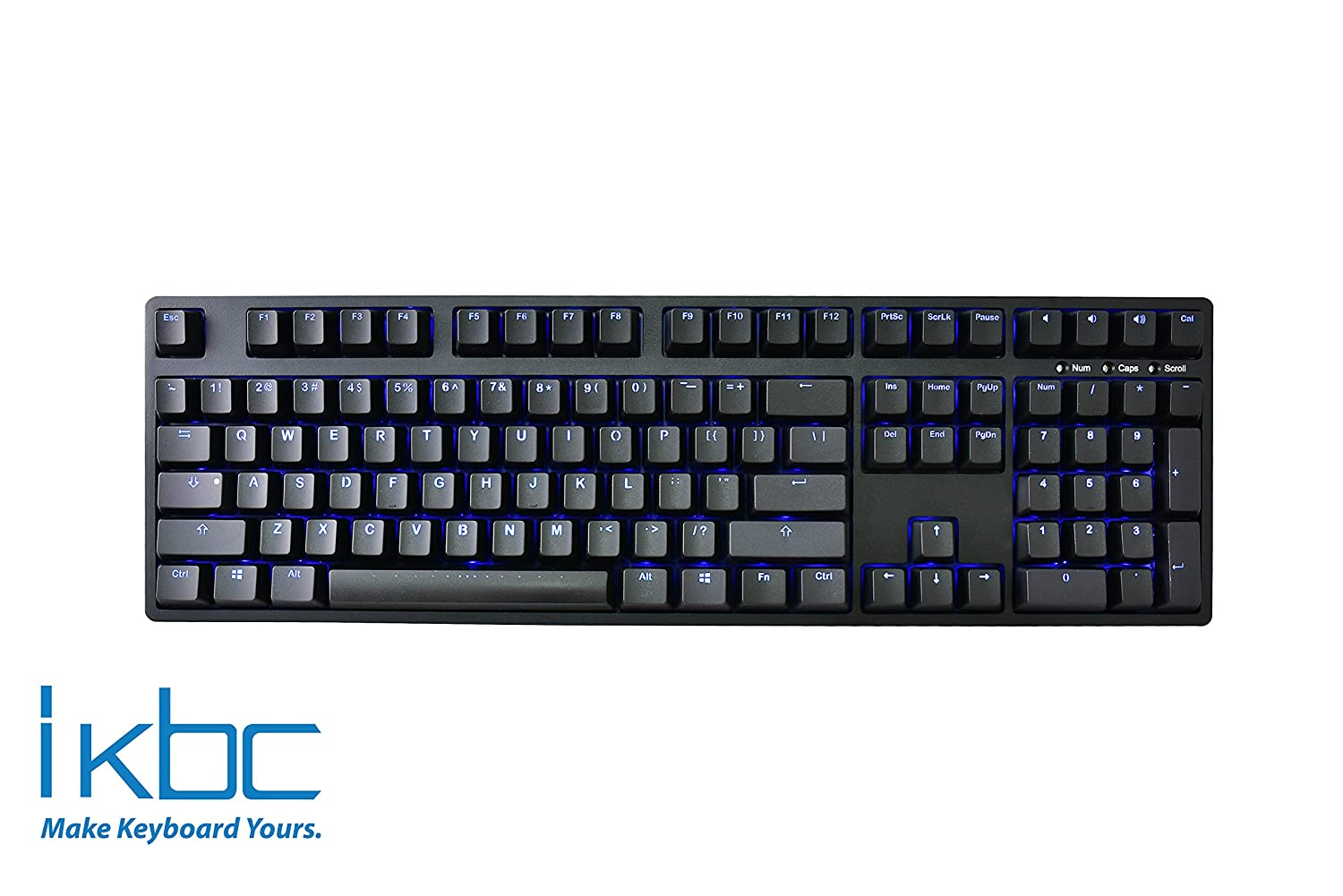 iKBC TD108 Blue Backlit LED Mechanical Keyboard with Cherry MX Red Switch for Windows Mac, Full Size Computer Keyboards, Black Case, Black PBT Doubleshot 108 Keycaps, ASIN US QWERTY