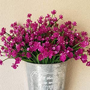 Artificial Daffodils Flowers,Purple Fake Plant Outdoor Faux Greenery Bushes Fence Indoor Outside Décor 8pcs