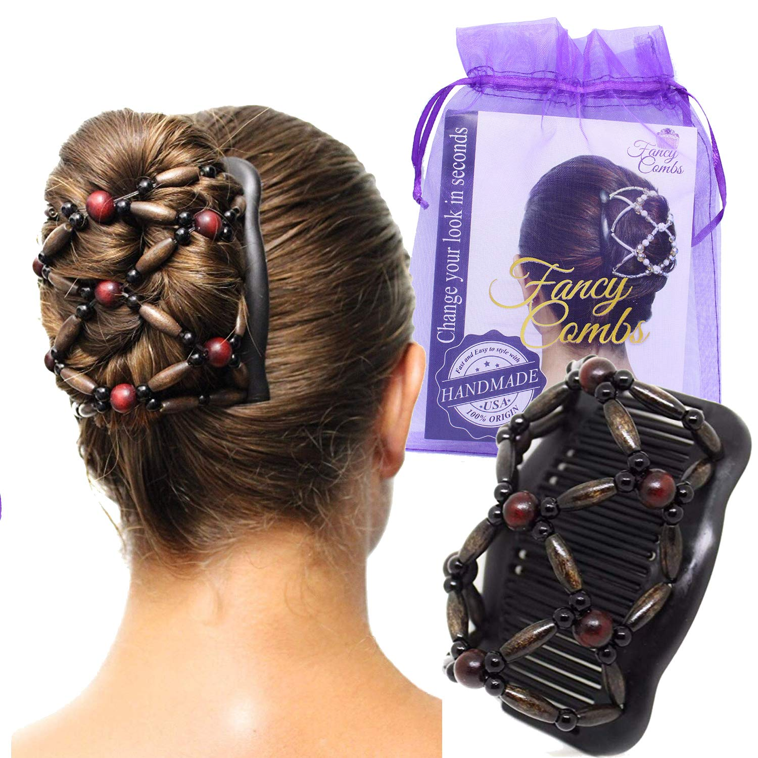 5x Lady Hair Beauty Decoration Comb Stretchy Beaded Hairpin Bow Double Combs