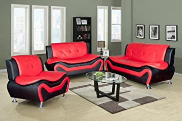Beverly Fine Furniture F4503-3pc Aldo ((3 Piece) Modern Sofa Set, Black/Red