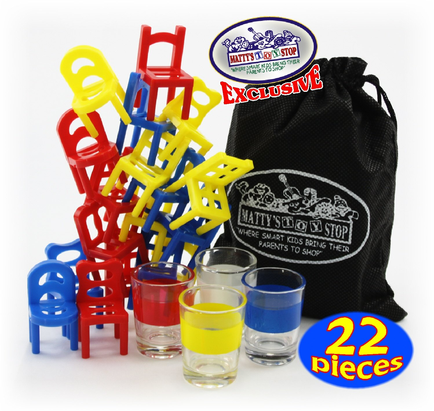 ''Drunken Chairs'' Deluxe Chairs Stack & Balance Drinking Game with Exclusive ''Matty's Toy Stop'' Storage Bag