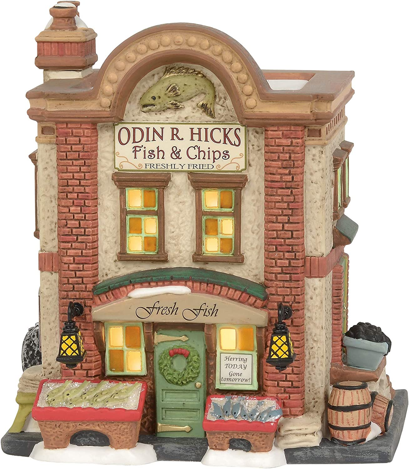 Department 56 Dickens Village Accessories Odin R. Hicks Fish and Chips Lit Building, 6.5 Inch, Multicolor