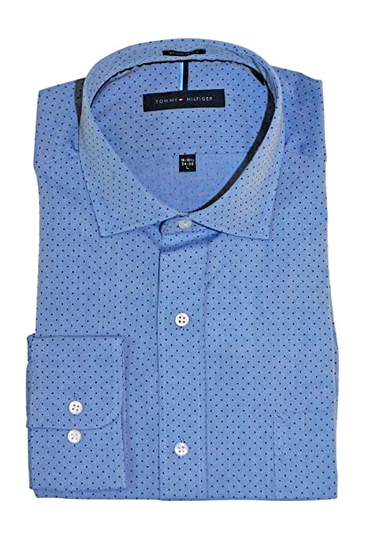 31089bbed Tommy Hilfiger Men's Non Iron Regular Fit Check Spread Collar Dress Shirt  at Amazon Men's Clothing store: