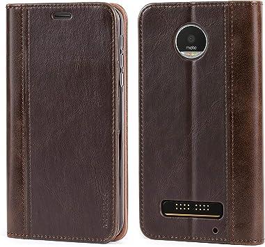 Mulbess Funda Motorola Moto Z Play [Libro Caso Cubierta] Billetera Cuero Carcasa para Motorola Moto Z Play Case, Vintage Marrón: Amazon.es: Electrónica