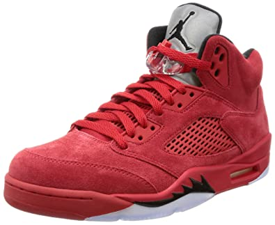 Jordan Men's Air 5 Retro, University RED/Black, ...