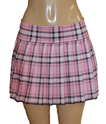 Plus Size Schoolgirl Tartan Plaid Pleated Mini Skirt Pink Stretch ...