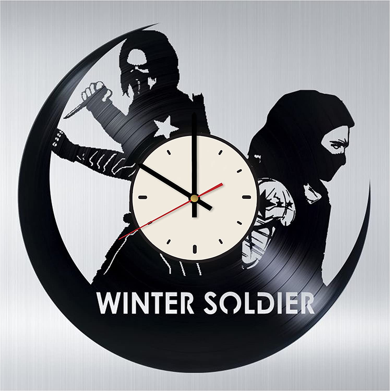 Bucky Barnes Vinyl Clock Winter Soldier Birthday Gifts Ideas Marvel Comics Handmade Home Wall Decor