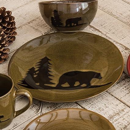 Moose and Bear Lodge Stoneware Bear Dinner Plate & Amazon.com | Moose and Bear Lodge Stoneware Bear Dinner Plate ...