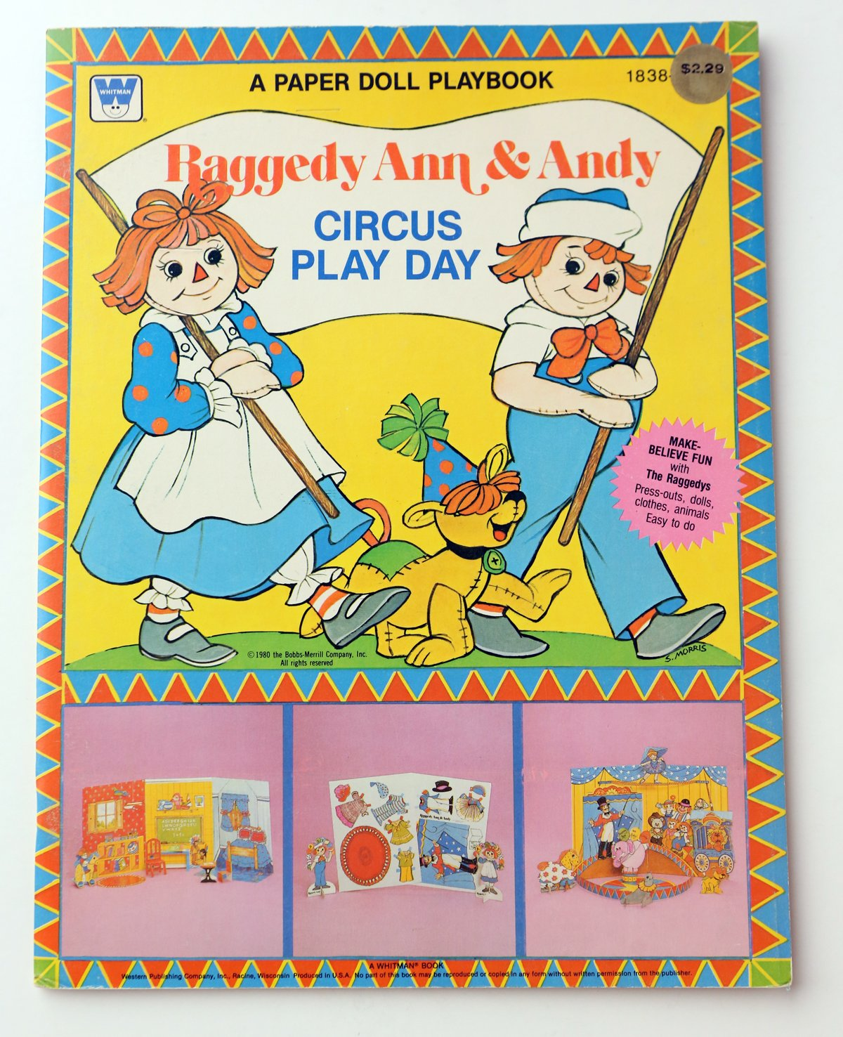 RAGGEDY ANN & ANDY CIRCUS PLAY DAY Playbook PAPER DOLLS Play Book (UNCUT) w Press Out DOLLS, Clothes & ANIMALS (1980)