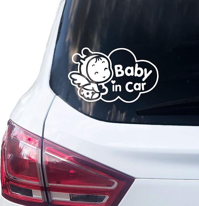 Printattack P003 Baby In Car Aufkleber 16 5cm X 10cm Auto Sticker Babyaufkleber Autoaufkleber Vinyl Weiss Auto