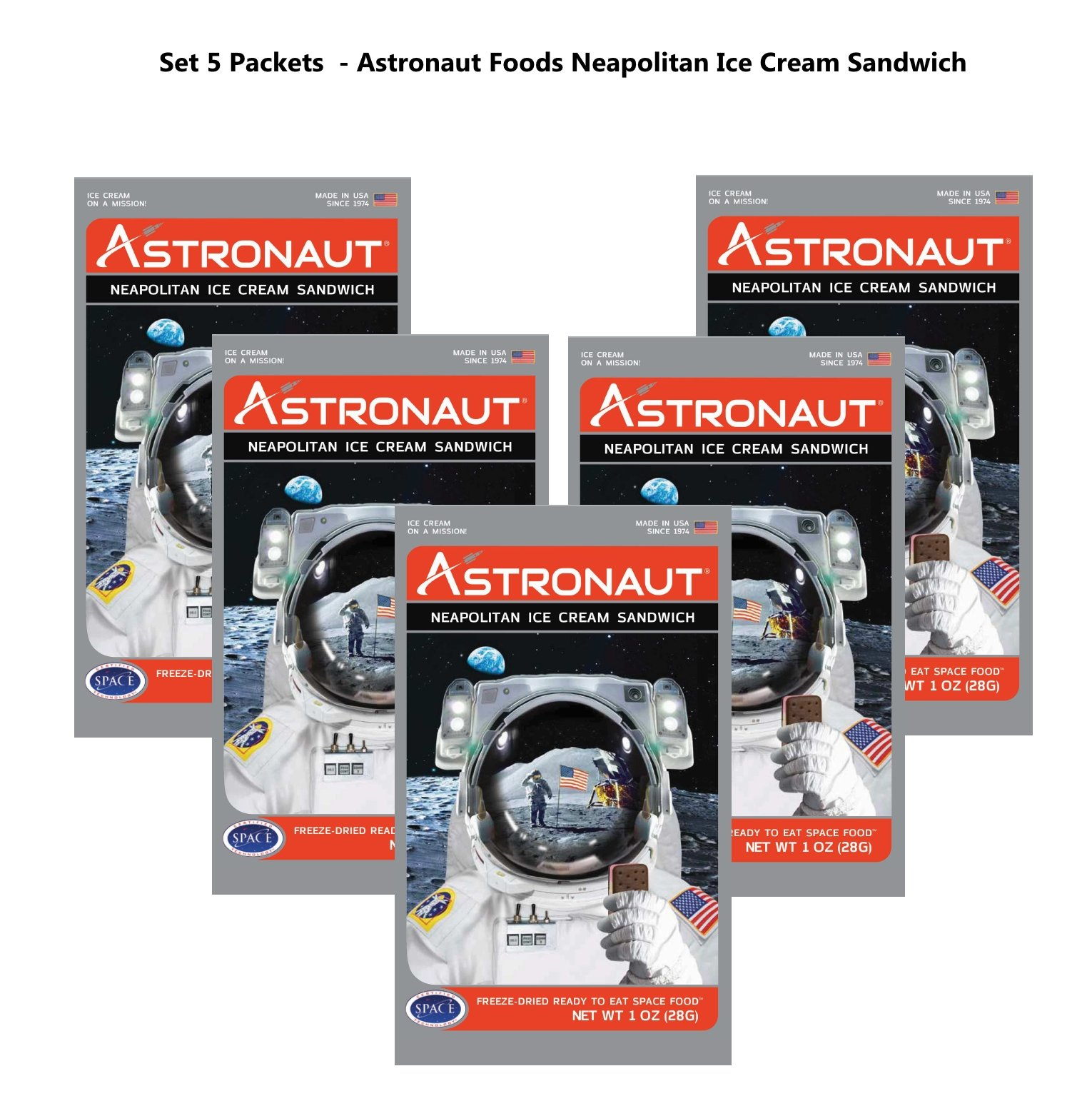 Astronaut Foods Neapolitan Ice Cream Sandwich Space Food (5 Packets)