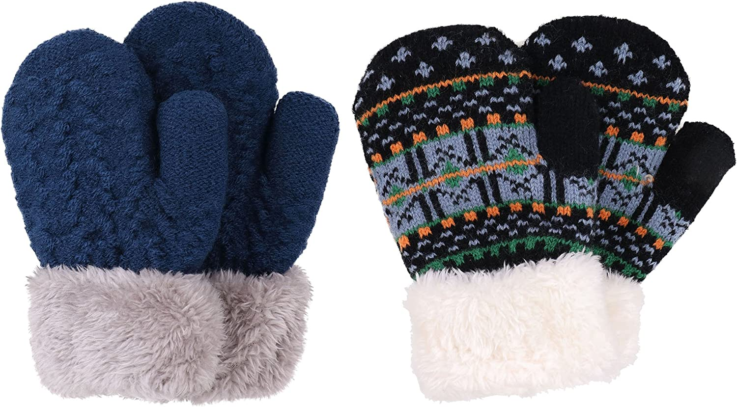 Arctic Paw 3 Pairs Kids Sherpa Lined Knit Mittens Boys Girls Winter Gloves