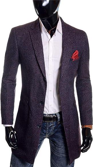 D/&R Fashion Mens Spring Coat 3//4 Long Blazer Jacket Wool Formal Evening Slim Overcoat