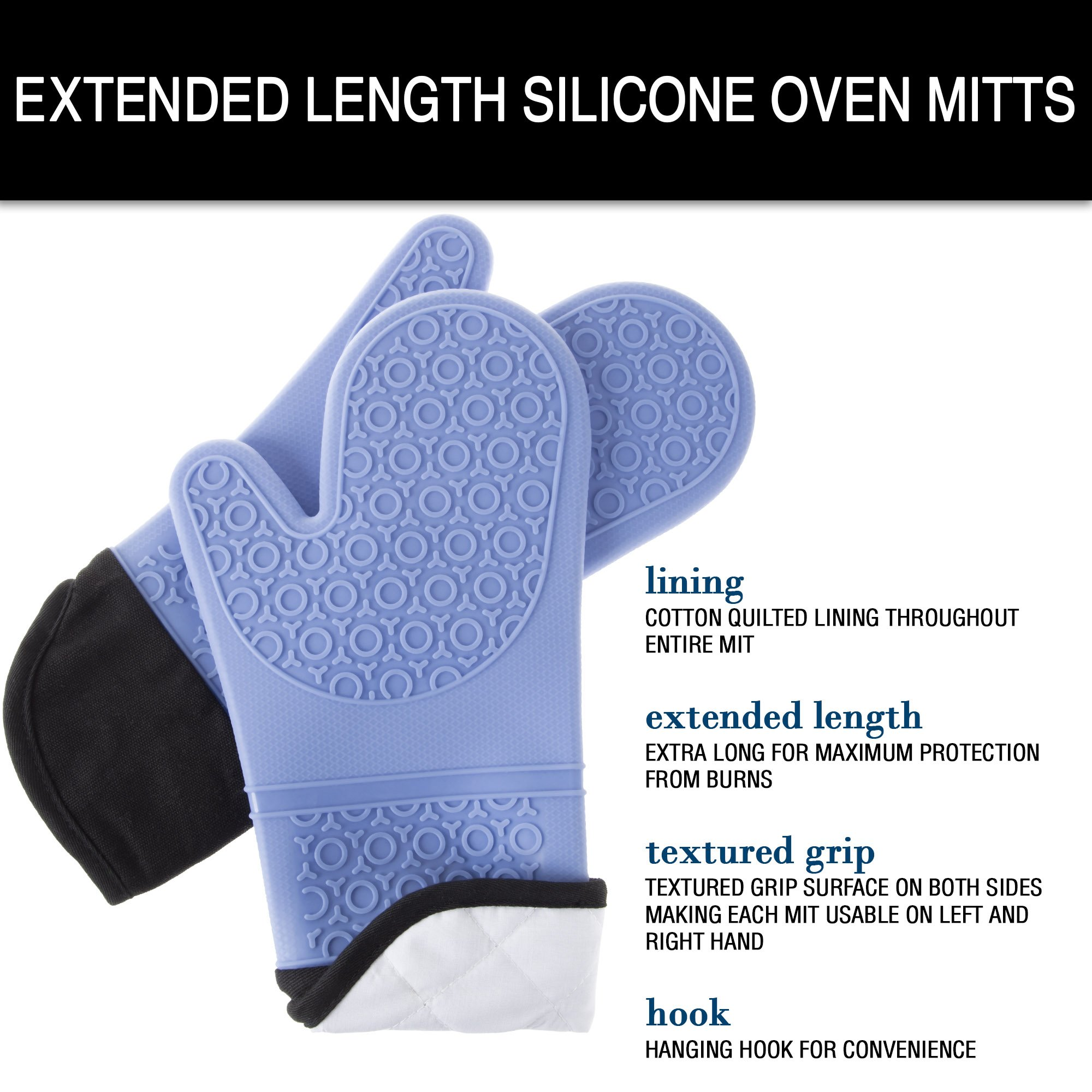 Silicone Oven Mitts – Extra Long Professional Quality Heat Resistant with Quilted Lining and 2-sided Textured Grip – 1 pair Blue by Lavish Home by Lavish Home (Image #5)