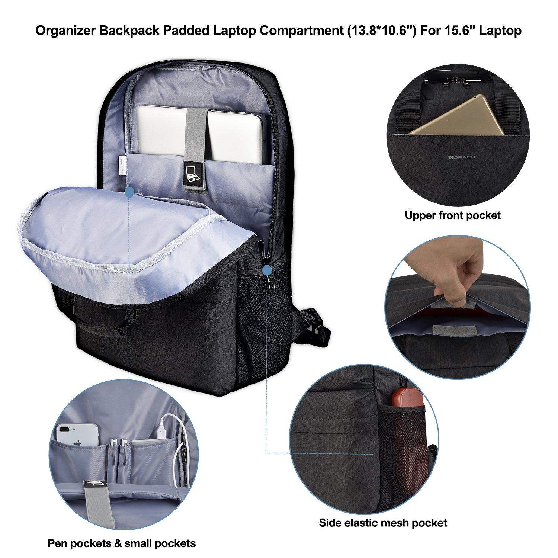 Kopack College Backpack W Usb Charging Port Lightweight Slim Laptop Bag For Business Travel 15 15.6 IN KP677 by kopack (Image #5)