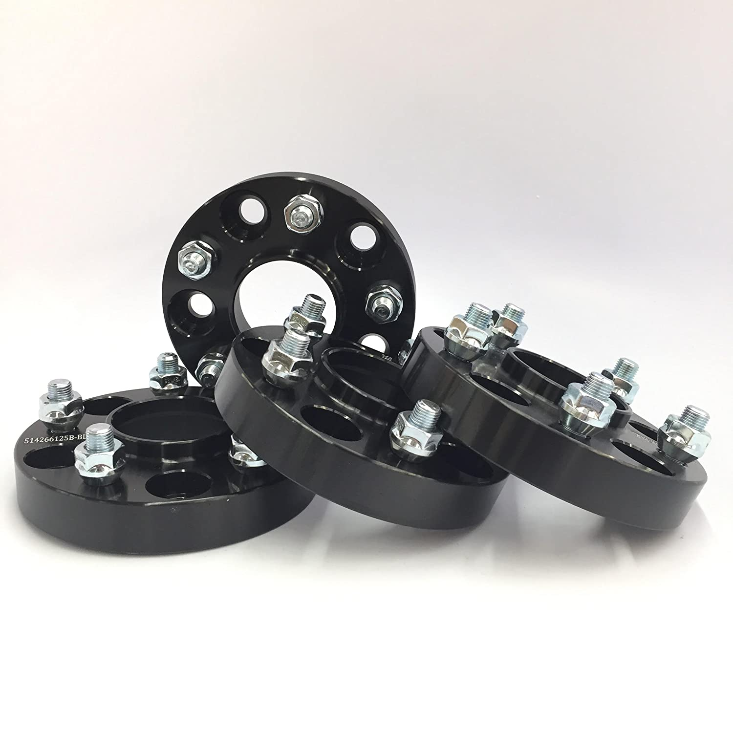 Customadeonly 4 Pieces 1 25mm Hub Centric Black Wheel Spacers Bolt Pattern 5x114.3 5x4.5 12x1.25 Center Bore 56.1mm Thread Pitch 12x1.25 Fits STI