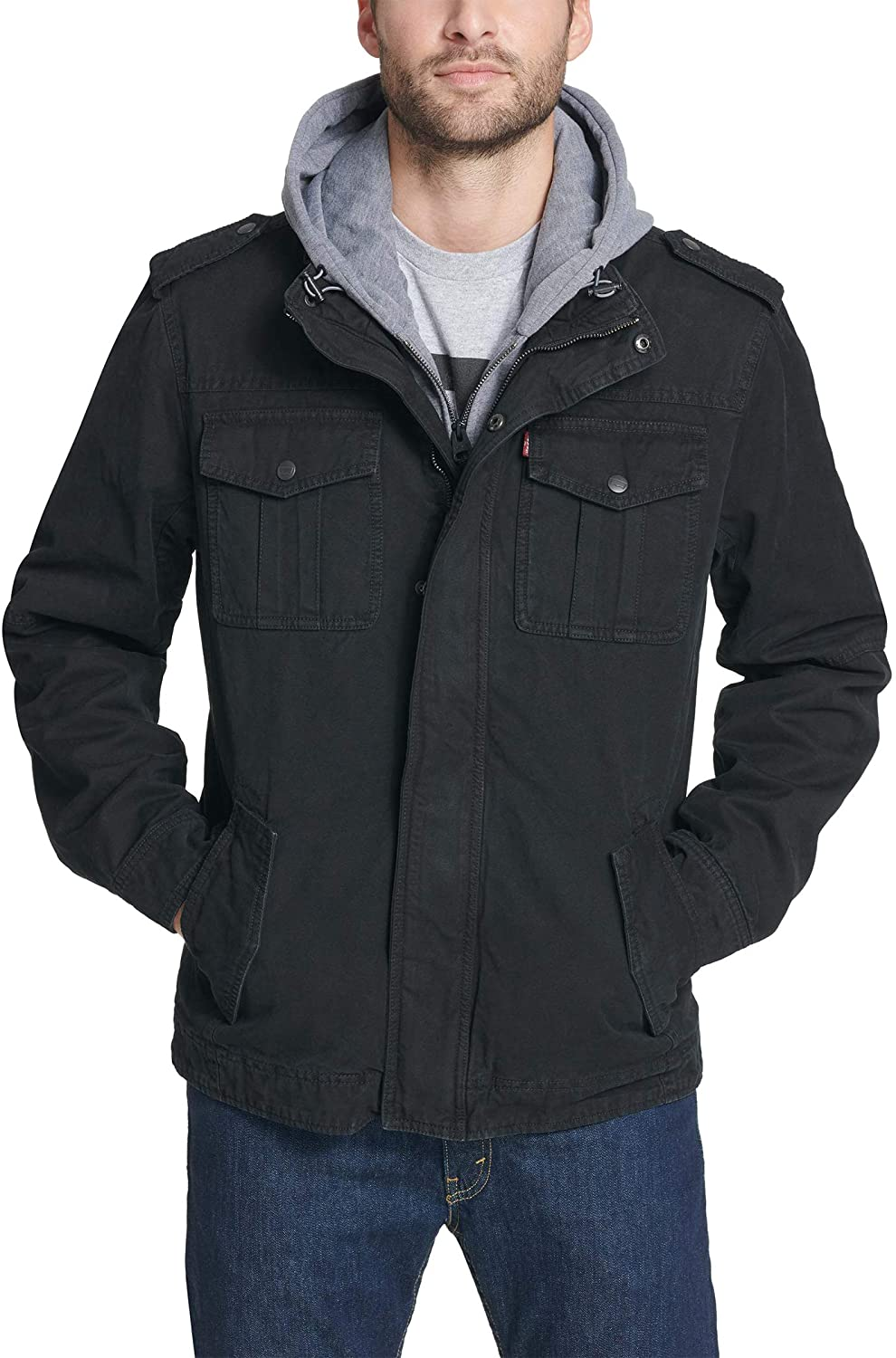 Levi's mens Washed Cotton Hooded Military Jacket