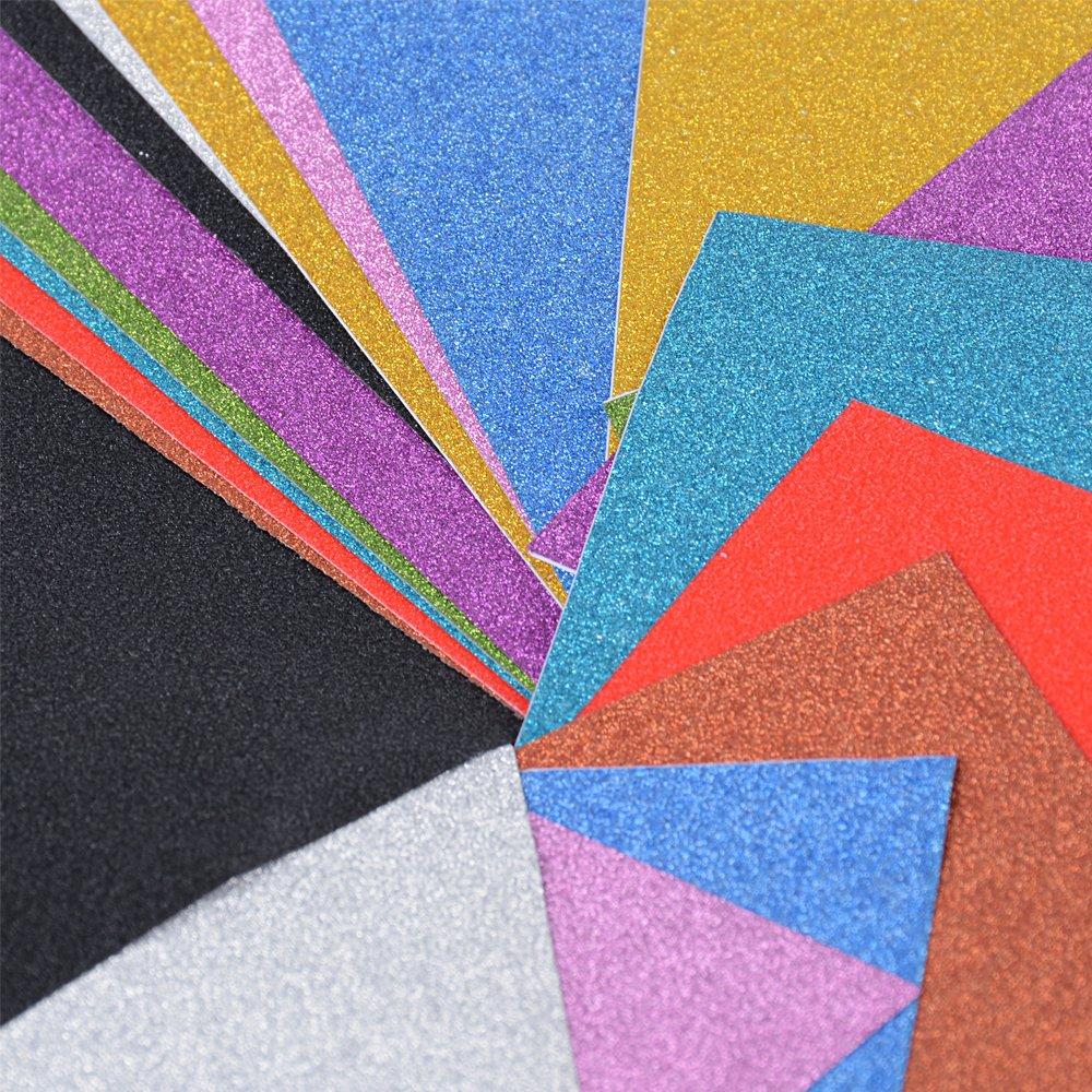 20 Blatt Glitzer Papier selbstklebend Glitter Karte Bastelpapier Papier Glitzer gl/änzend Glitterkarton A4 10 Farben f/ür DIY Craft Album Handwerk Scrapbooking