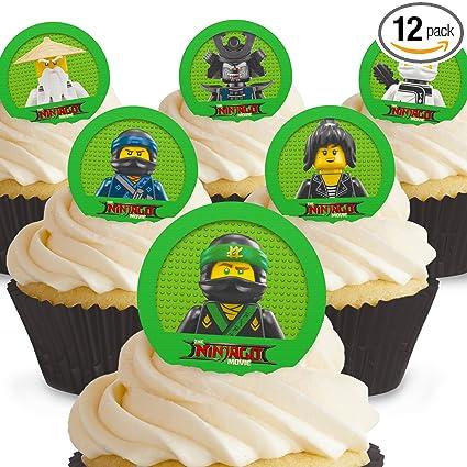 Cakeshop 12 x PRE-CUT Lego Ninjago Movie Edible Cake Toppers