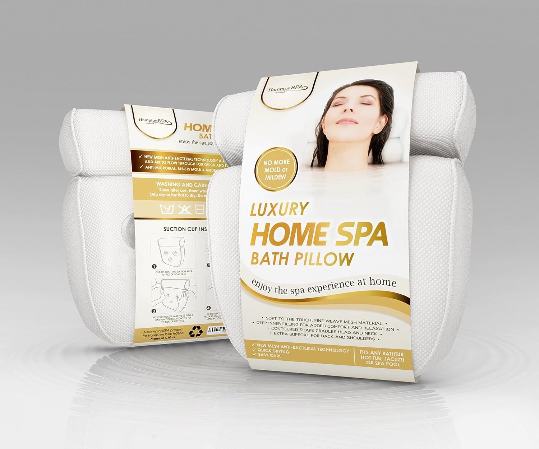 Luxury Home Spa Bath Pillow o Deep Cushion Cradles Head and Neck ...