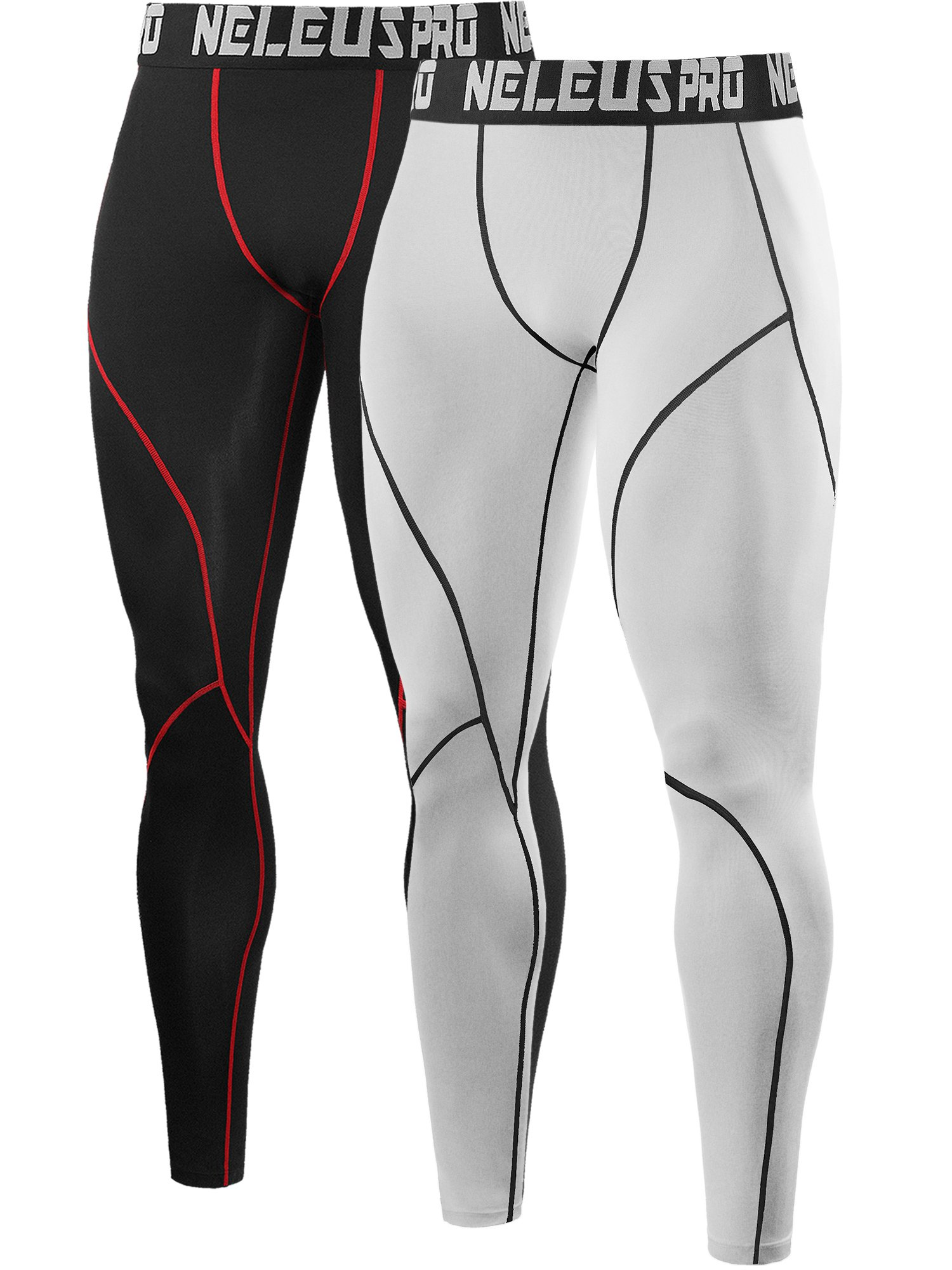 Neleus Men's 2 Pack Compression Base Layer Tight Pants,6013,Black (Red Stripe),White,US S,EU M