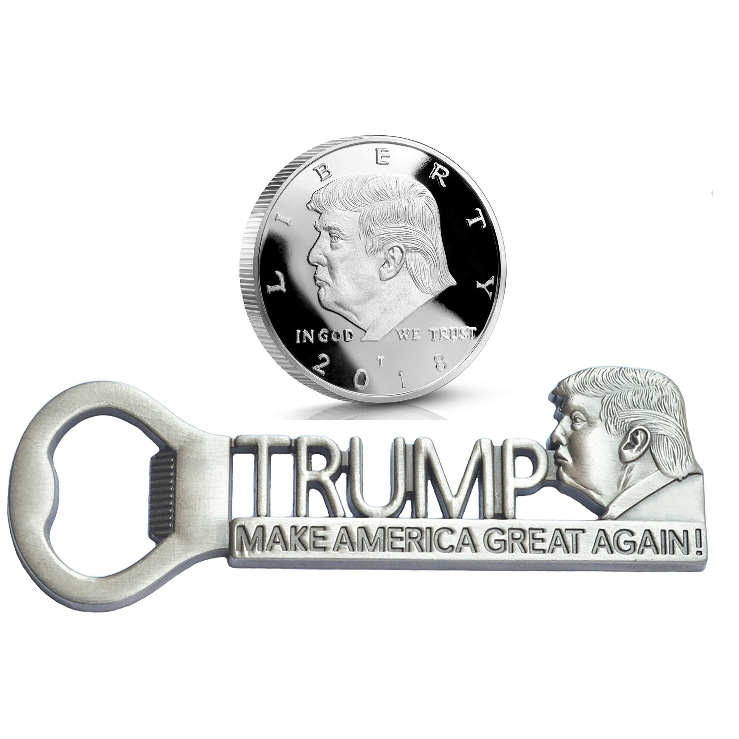 [ Donald Trump Supporter Gifts ] Make America Great Again Bottle Opener and Donald Trump Silver Plated Collectable Challenge Coin 2018 (Antique Silver Bottle Opener + Silver Coin)