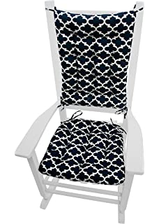 Marvelous Exceptional Barnett Products Fulton Navy Blue Quatrefoil Rocking Chair  Cushions Size Extra Large Indoor