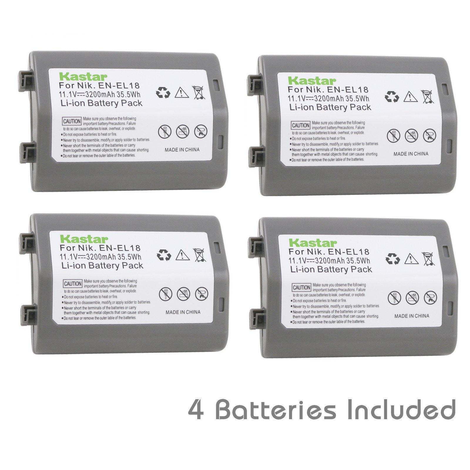 Kastar Battery (4-Pack) for Nikon EN-EL18, EN-EL18a, ENEL18, ENEL18a, MH-26, MH-26a, MH26 and Nikon D4, D4S, D5 Digital SLR Camera, Nikon MB-D12, D800, D800E Battery Grip