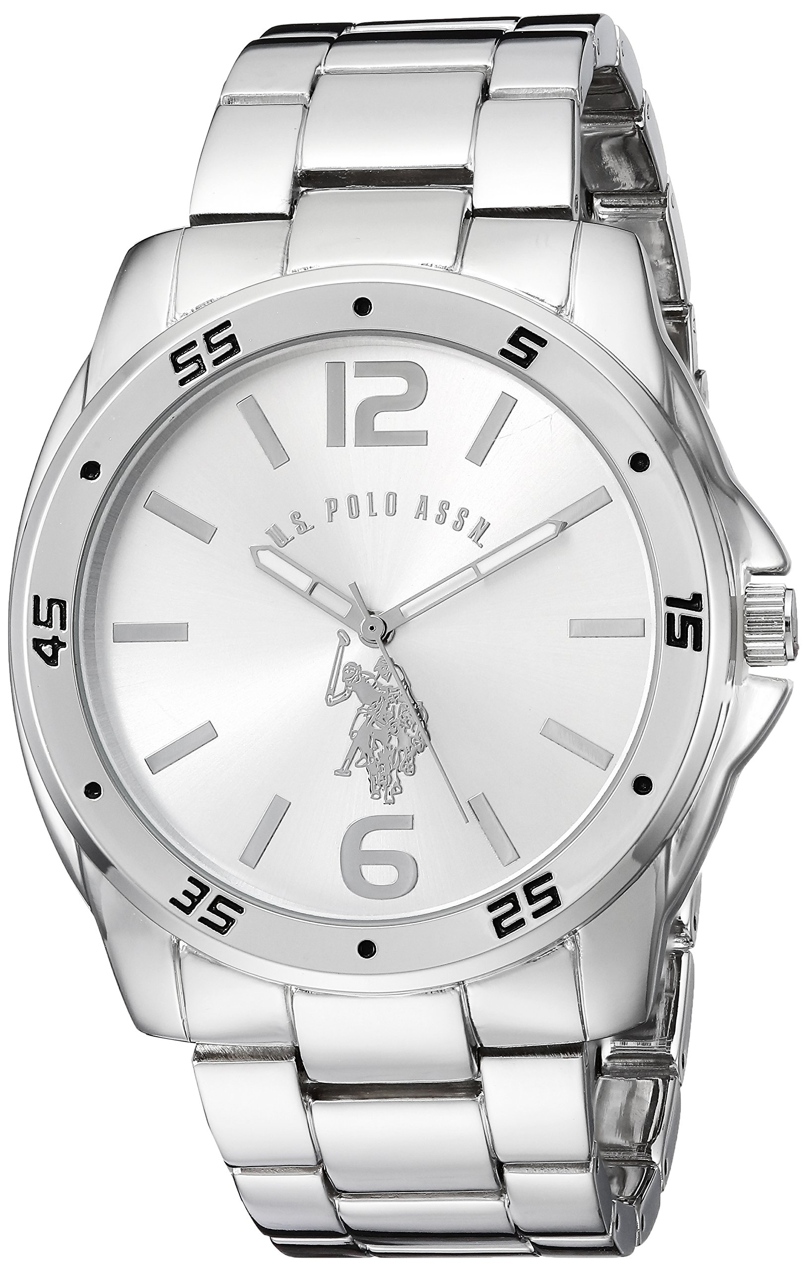 7bfb229df150 U.S. Polo Assn. Classic Men's USC80223 Silver-Tone Watch with Link Bracelet