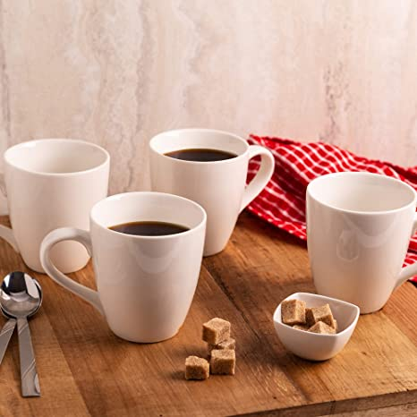 Ideal for Coffee White Coffee Mug Set of 4 Ceramic Cups 12oz White Mugs By Gift Essentials Hot Cocoa Modern Design Latte and Tea Dishwasher Safe Cappuccino