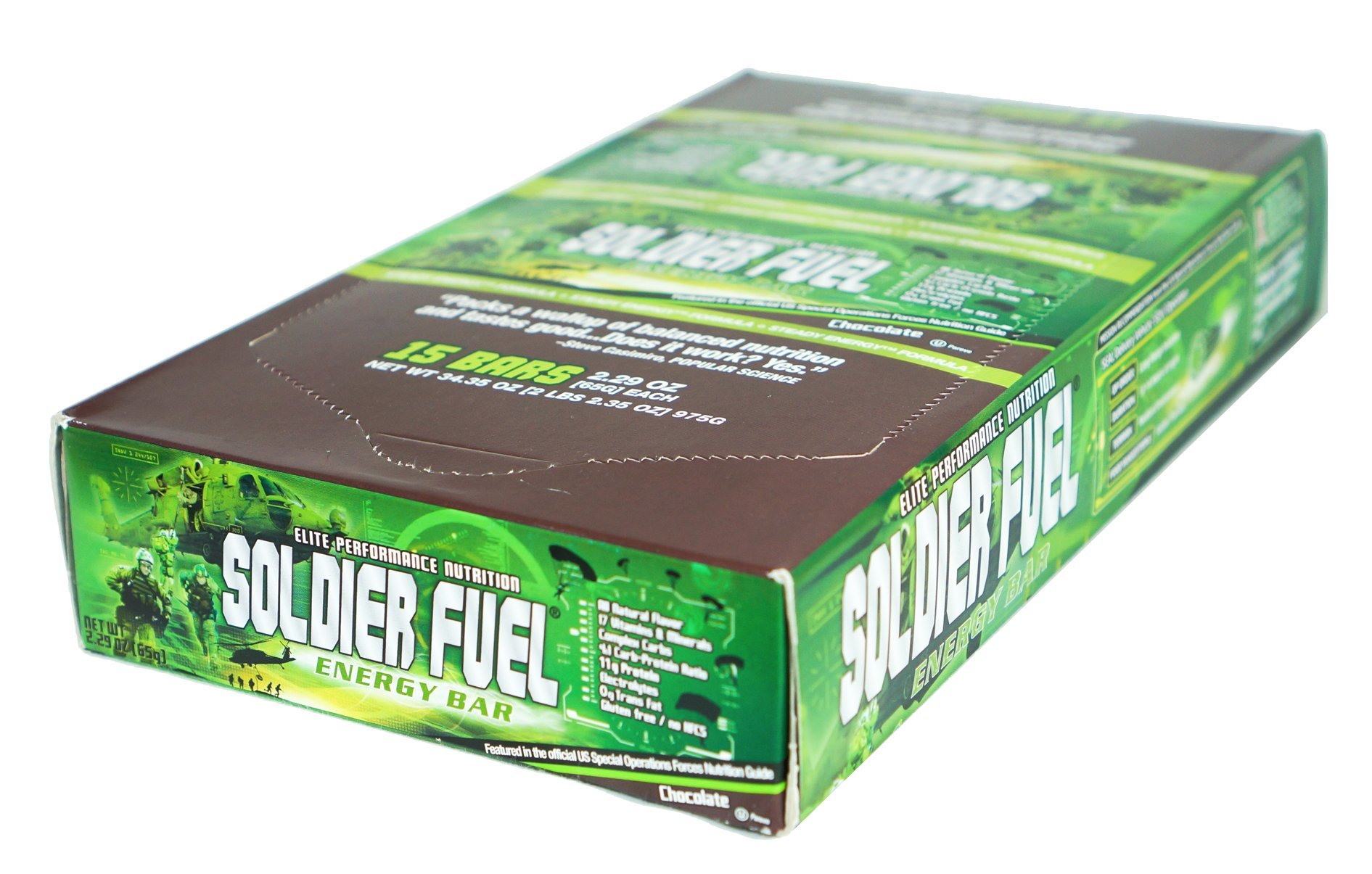 soldier fuel energy bars real chocolate 2 29 ounce pack of 15