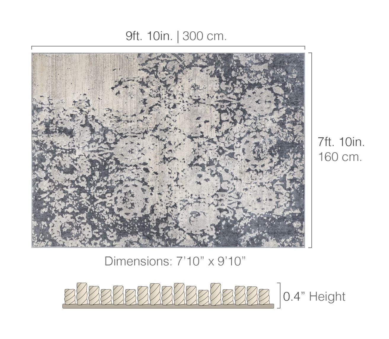 Forte Grey Microfiber High-Low Pile Vintage Abstract Erased Floral 8x10 (7'10'' x 9'10'') Area Rug Modern Oriental Carpet by Well Woven (Image #7)