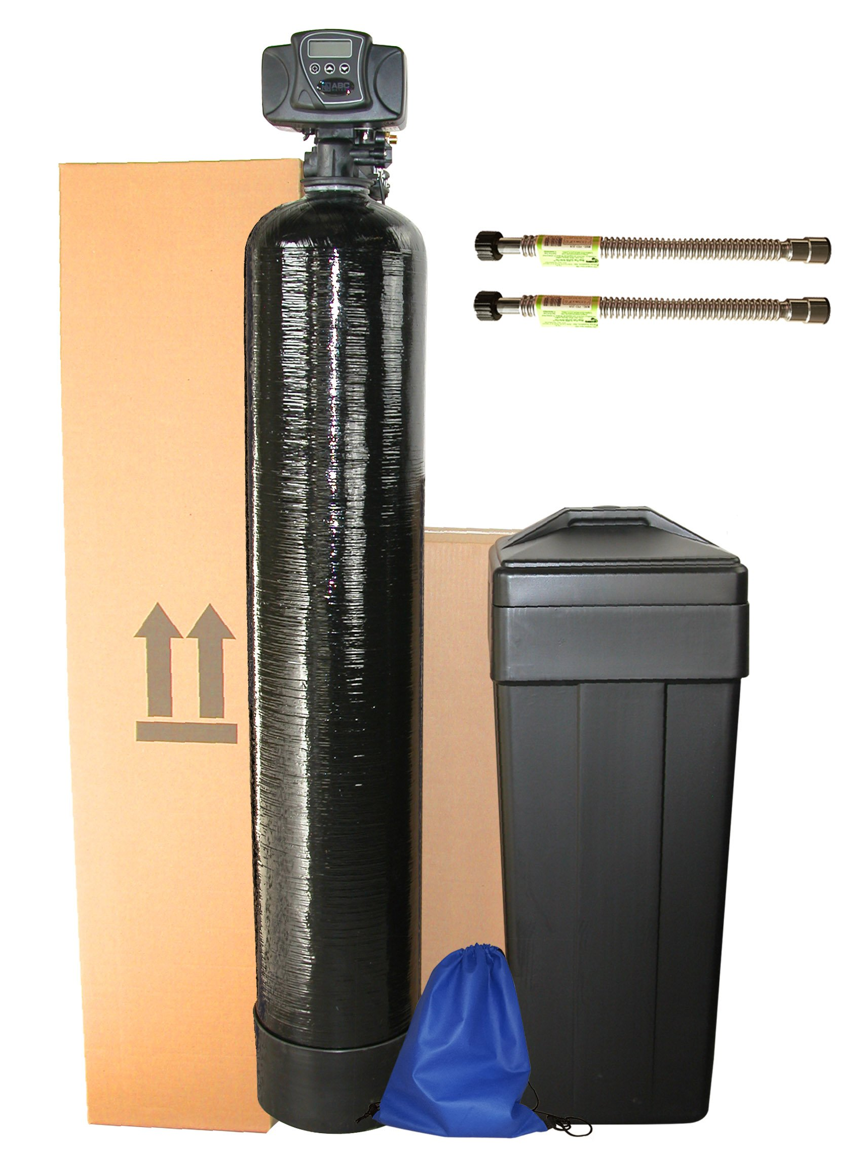 ABCwaters Built Fleck 5600sxt 48,000 Water Softener w/ UPGRADED 10% Resin + Hardness test + Install Kit + 2 Stainless Steel Connectors
