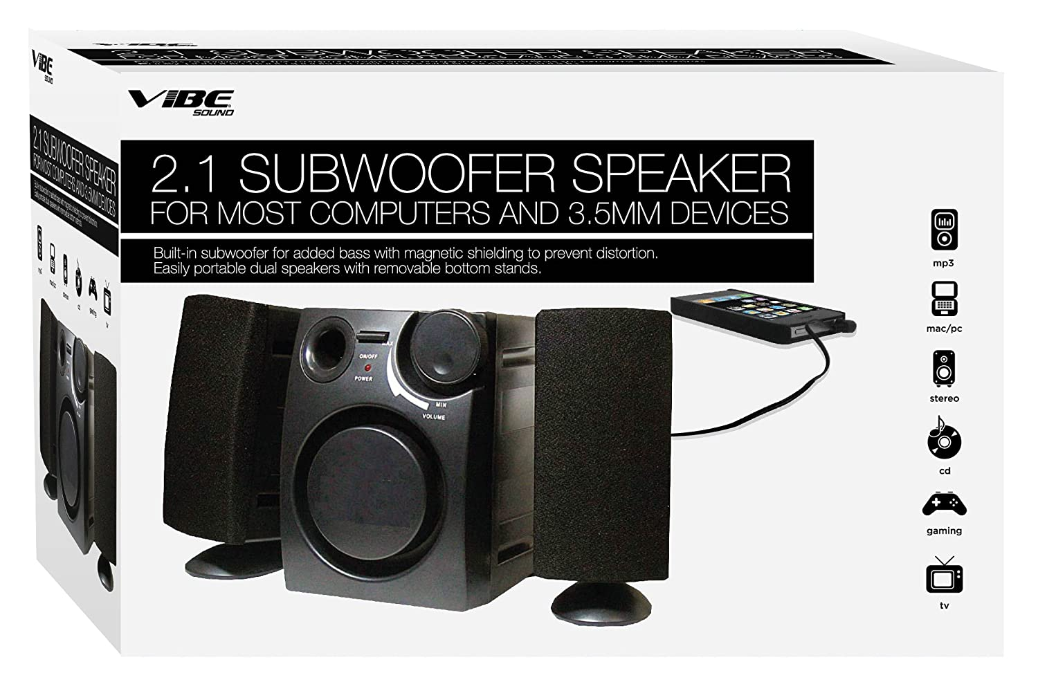 Baby Boomer 600w Dual 8quot Subwoofer Electronicswoot Vibe Vs 521 Sw Speaker System Black Home Audio Theater