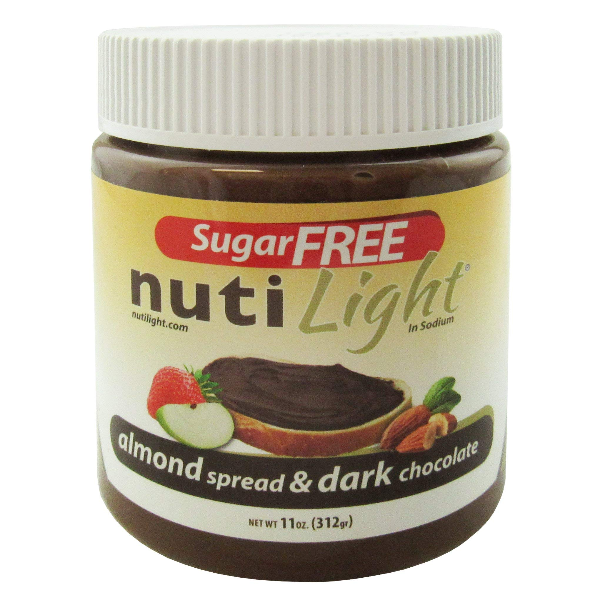Nutilight Sugar-Free Keto-friendly Almond Spread and Dark Chocolate 11 Ounces (Pack of 1)