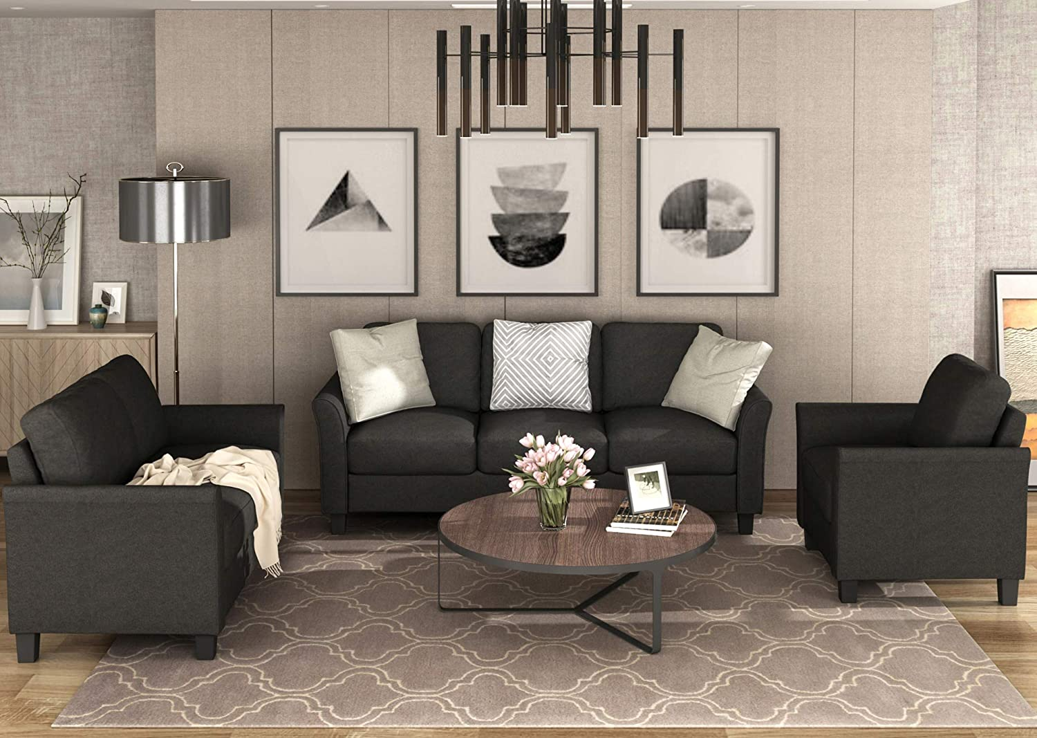 Harper&Bright Designs Sofa Set, Living Room Sofa Set (Black Set,  Chair&Loveseat Chair&7-Seat Sofa)