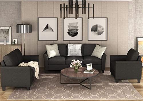 3 Piece Living Room Sofa Set,JULYFOX Fabric Couch Loveseat and Arm Chair Set-Black Color