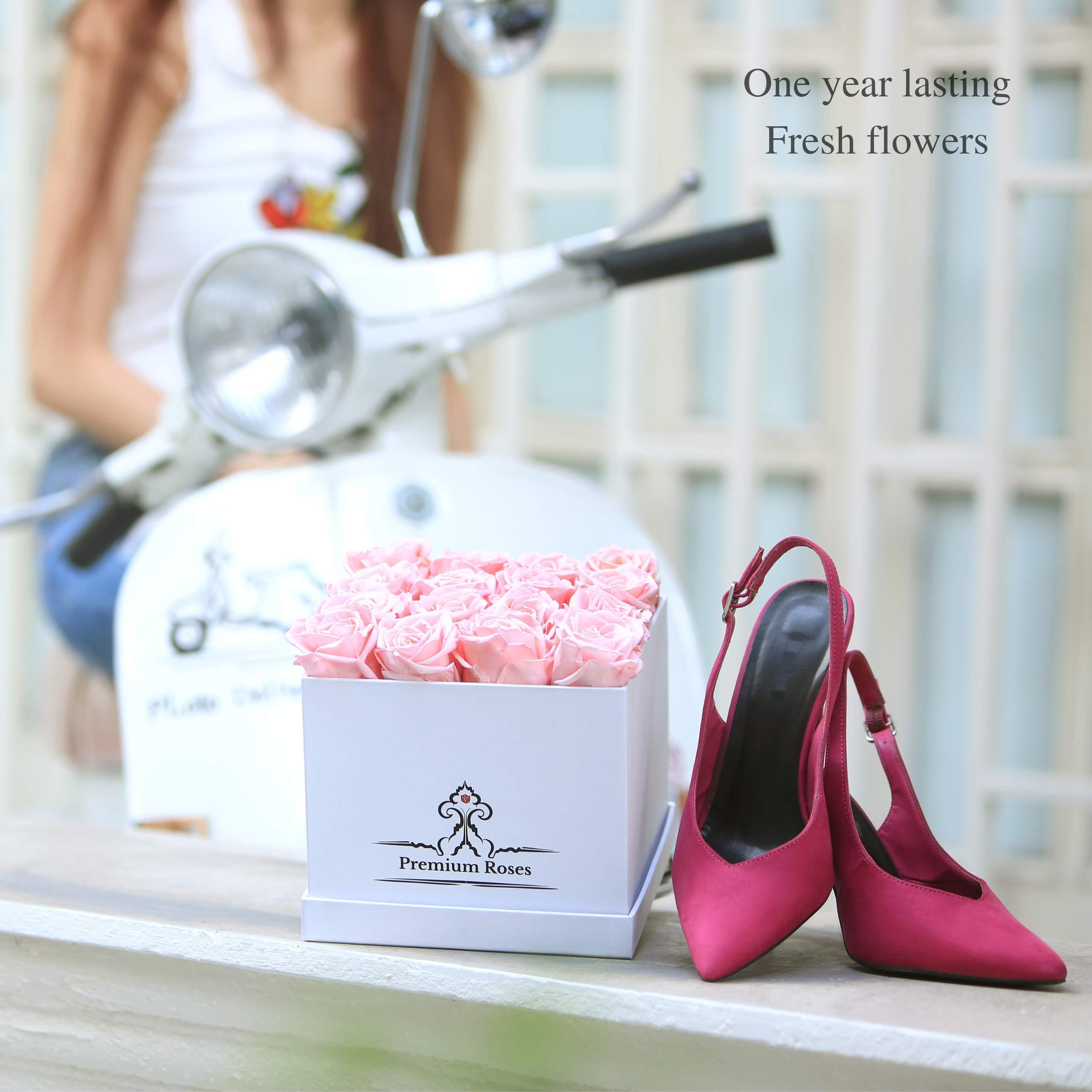 Premium Roses | Model White| Real Roses That Last 365 Days | Fresh Flowers| Roses in a Box (White Box, Medium) by Premium Roses (Image #3)