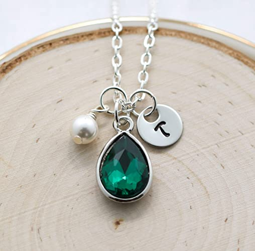 32b9b59b06 Amazon.com: May Birthstone Necklace for Women - Personalized Initial ...