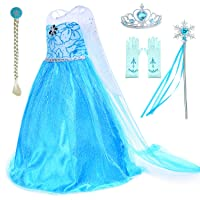 Princess Costumes Birthday Party Dress Up for Little Girls with Wig,Crown,Mace,Gloves Accessories Age 2-11 Years