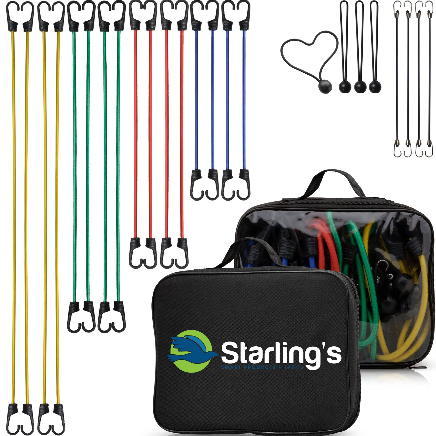 Bungee Cord Tie Down Straps Assortment (Set of 24 Cords) W/Carrying Case by Starling's|100% Latex- Elastic, Heavy Duty Pull Ropes for Motorcycle, Truck, Car, Trailer, Camper |W/Bungee Ball-Canopy Tie