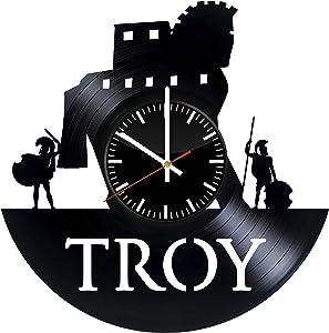 Troy Vinyl Clock - Troy Ancient City Greece Vinyl Records Wall Art Room Decor Handmade Decoration Party Supplies Theme - Best Original Present Gift Idea - Vintage and Modern Style