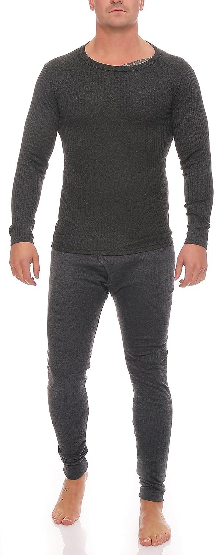 1 Langes Set Herren Thermo Unterwäsche Gr. 6, anthrazit Unterhose mit Eingriff und Unterhemd beides innen angeraut