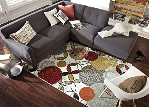Mohawk Home Strata Give And Take Kaleidoscope Abstract Medallion Printed Area Rug, 5 x8 , Multicolor