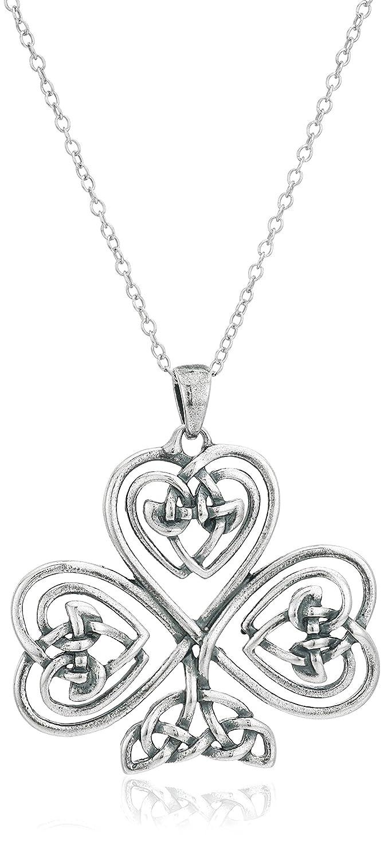 Amazon.com: Sterling Silver Oxidized Celtic Knot Shamrock Clover ...