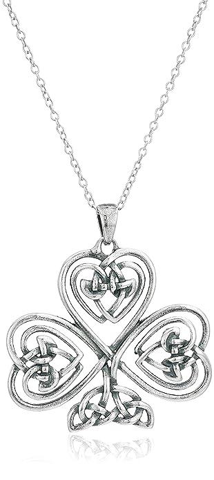 Amazon sterling silver oxidized celtic knot shamrock clover sterling silver oxidized celtic knot shamrock clover pendant necklace 18quot aloadofball Choice Image