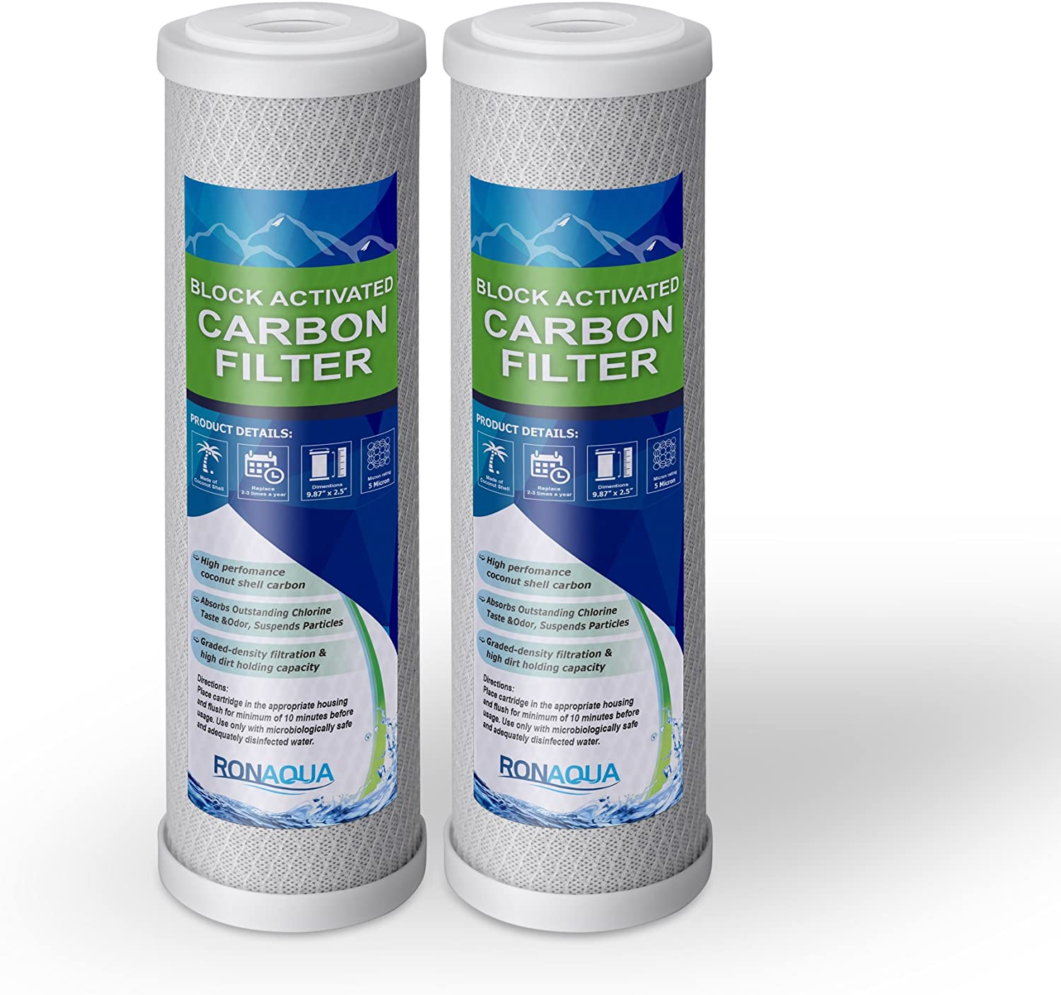Aquaboon Coconut Shell Water Filter Cartridge Universal 5 Micron 10 inch Cartridge FXWTC Activated Carbon Block CTO WHKF-WHWC 25-PACK WHEF-WHWC WFPFC8002 Compatible with DWC30001