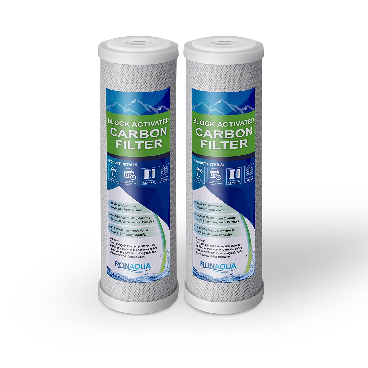 """Block Activated Carbon Coconut Shell Water Filter Cartridge 5 Micron for RO & Standard 10"""" Housing WELL-MATCHED with WFPFC8002, WFPFC9001, WHCF-WHWC, WHEF-WHWC, FXWTC, SCWH-5 (2 Pack)"""