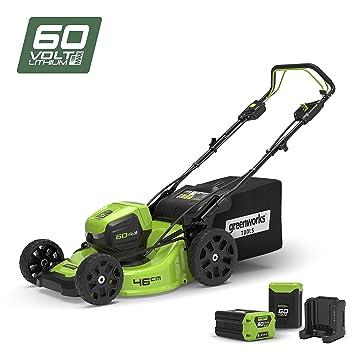 Greenworks Tools cortacésped Autopropulsado 46 cm 60 V Lithium-Ion con Cargador y 2 baterías 2 Ah – 2502907uc, 60 V, Verde